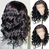 Andrai Hair Short Bob Lace Front Wigs Glueless Natural Wave Synthetic Heat Resistant Fiber Hair Wig With Baby Hair For Black Women 14 Inch