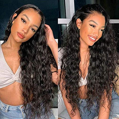 QDBOWIN QUEEN HAIR Long Natural Curly Lace Front Wig for Women Glueless 180% Density Heat Resistant Synthetic Hair Wig Replacement Wig Half Hand Tied (26inch)