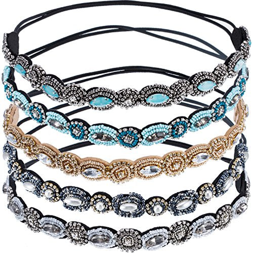 Mudder 5 Pieces Elastic Rhinestone Beaded Women Headbands Handmade Hair Bands Woman Hair Accessories (Muticolor A)