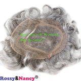 Rossy&Nancy Men Hairpiece Real French Lace Human Hair Replacement for Men Wig Thin Skin Men's Toupee 20% #2 Color Mixed 80% Grey Hair