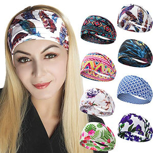 Headbands for Women, Bohemian Style Yoga Elastic Headwraps Head Wrap Hair Band 8 Pack (Style-1 (8 Pack))