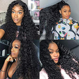 9A Water Wave Human Hair Lace Front Wigs PrePlucked with Baby Hair Unprocessed Brazilian Remy Deep Curly Wave Lace Frontal Human Hair Wig Full End Lace Wigs Natural Color Wet Human Hair Wigs for Women