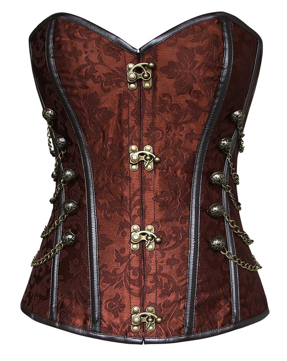 Charmian Women's Spiral Steel Boned Steampunk Gothic Bustier Corset with Chains Brown XX-Large