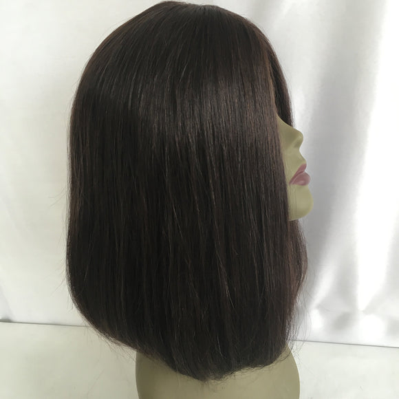 Crystal Factory Jewish/Sheitel Wig Kosher Straight Hair Wig Natural Color Virgin Human Hair Multidirection Silk Top Wig