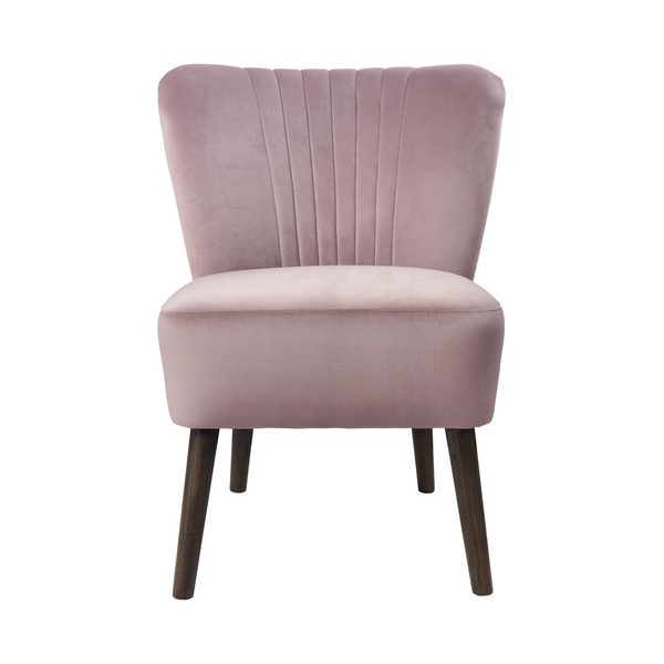 Lounge Velvet - Velvet-clad Chair (Old Rose Color)