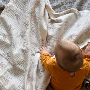 Muslin cotton baby/toddler blanket - Cherry blossom - listliving
