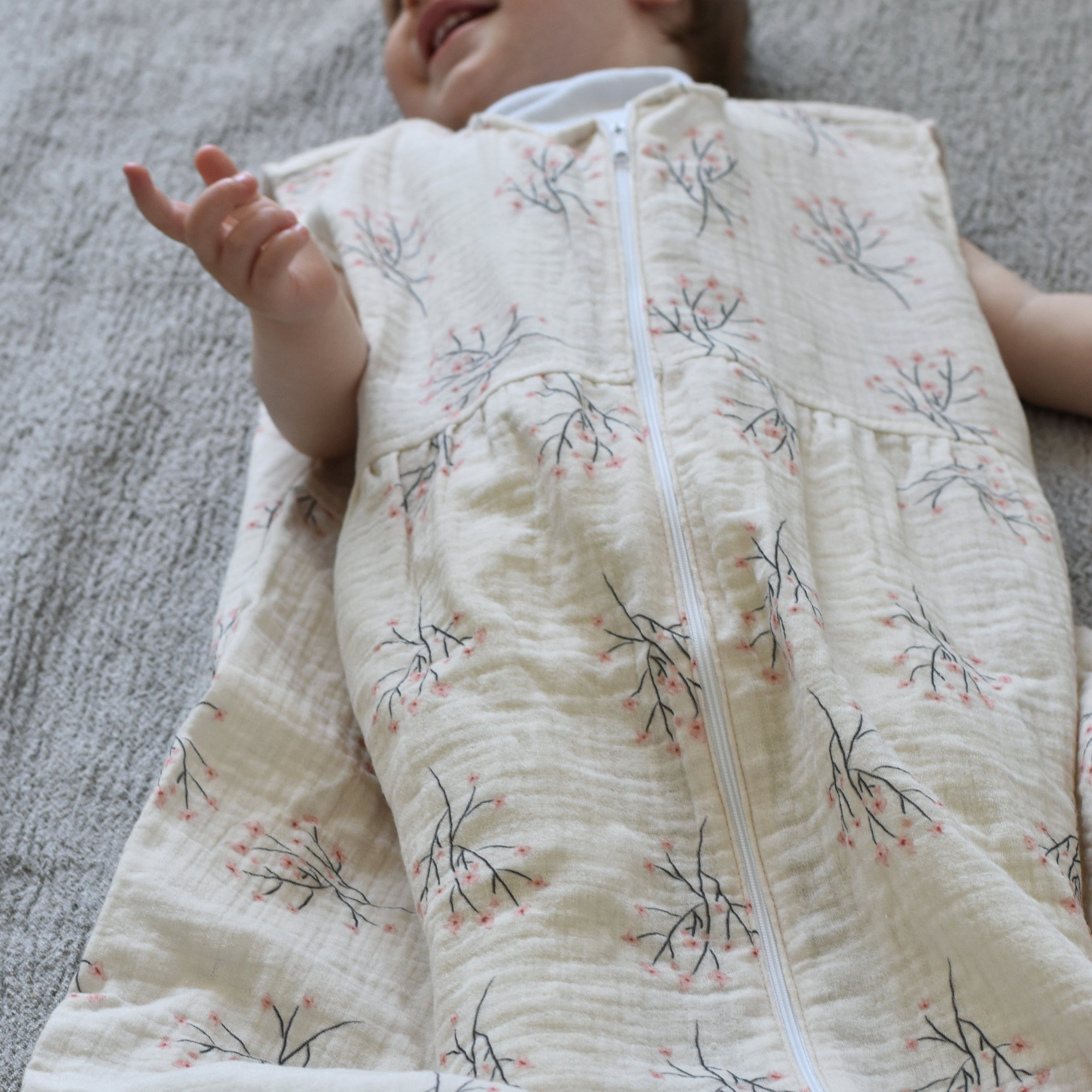 Muslin cotton baby/toddler sleeping bag - Cherry blossom - listliving