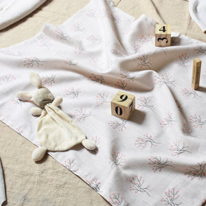 Linen baby/toddler blanket - Cherry blossom - listliving