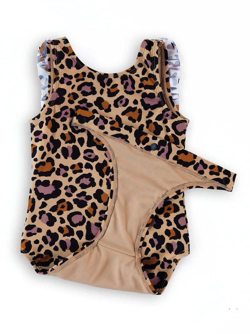 Cheetah Bonita Baby and Toddler Magnetic One-Piece Ruffled