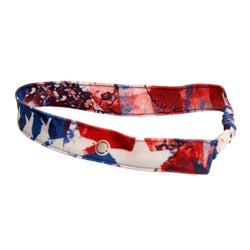 Keep the hair out of her eyes with this FASTEN spandex headband. Red, white and blue pattern is stylish and patriotic! Perfect kids headband for the beach, pool, and all year round!