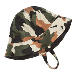 FASTEN reversible toddler hat that is UPF 50+ for excellent sun protection. Camo on one side and black on the other. This unisex hat with chin strap stays on your toddler's head.