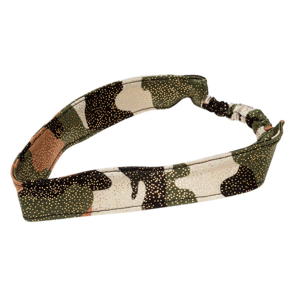 FASTEN spandex glitter headband with camo print. One-size headband fits infants, toddlers, and young girls. Great to keep hair out of a girl's eyes. Can be worn year-round.