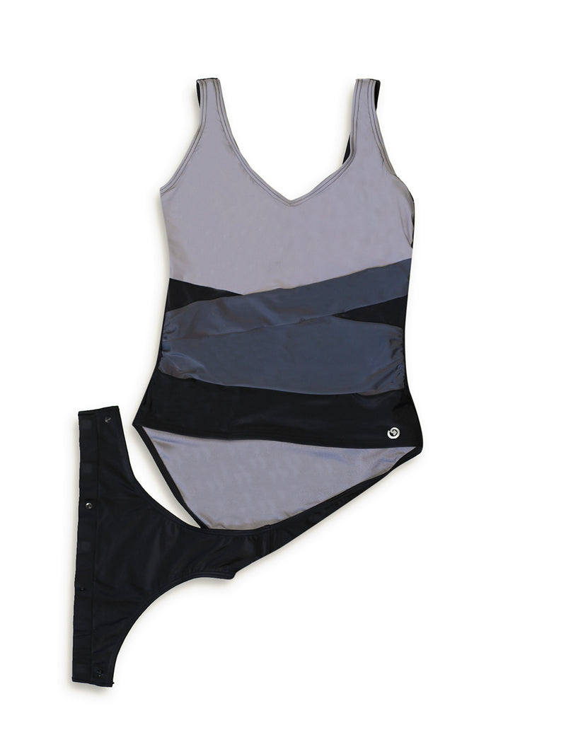 Wrapped Up Color Block Mesh One-Piece