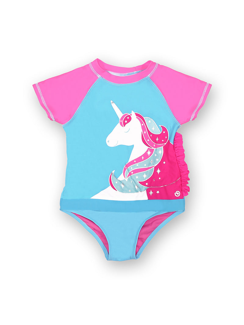 Born To Unicorn Short Sleeve Baby and Toddler Magnetic One Piece
