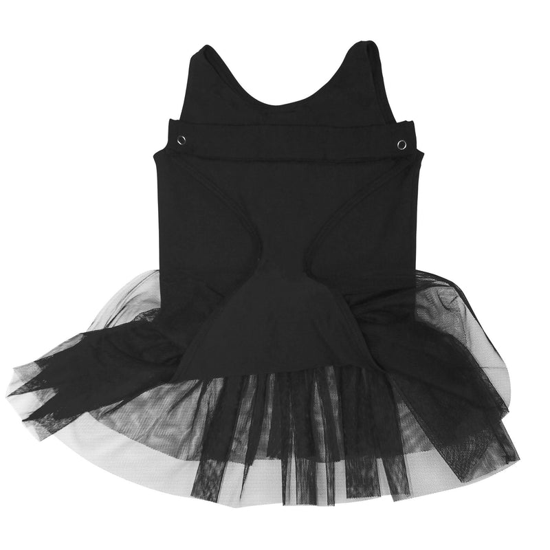 FASTEN tank leotard with tutu. Patented design opens and closes at the waist via hidden magnets and snaps. No need to remove leotard for potty break! Available in black and light pink. Sizes 2T-6. Hidden magnet in back to keep flap out of toilet.