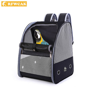 RFWCAK Pet Parrot Backpack Carrying Cage Cat Dog Outdoor Travel Breathable Carrier Bird Canary Transport Bag Birds Supplies