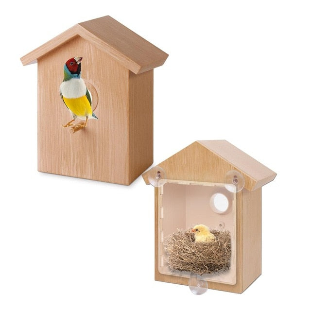 Bird Nest Cage Innovative Outdoor Bird Feeder One Way Mirror Exquisite Feeder With Suction Cup Window Decoration Pet Supplies