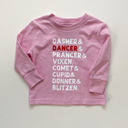REINDEER. (pink toddler long sleeve)