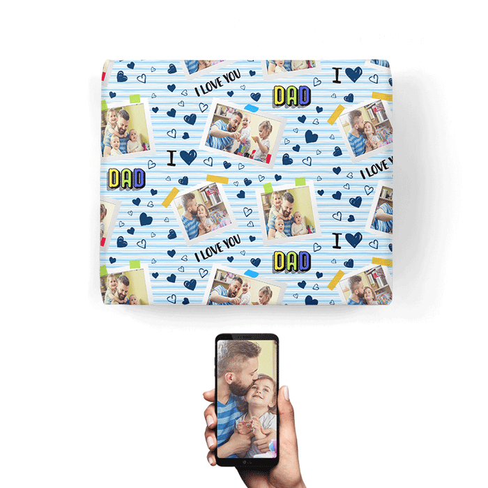 I Love You Dad Collage Wrapping Paper