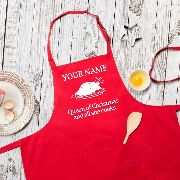 Personalised Queen Of Christmas And All She Cooks Apron