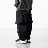 OSLP066 Hidden Pocket Twill Balloon Pants (Black)