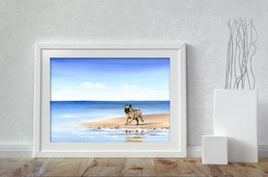Pug On The Beach - A4 Print