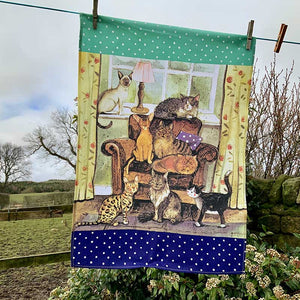 Cat House Tea Towel