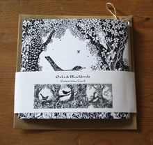 Load image into Gallery viewer, Owls and Blackbirds Concertina Greetings Card