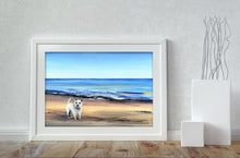 Load image into Gallery viewer, Westie On The Beach - A4 Print
