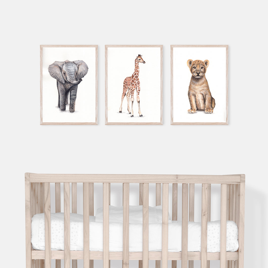 Nursery Safari Animals Print Set