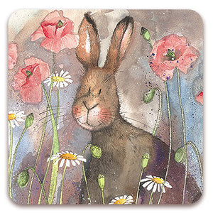 Hare and Poppies Coaster