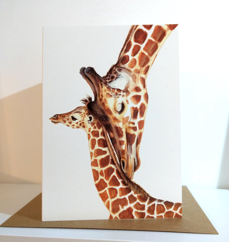 Giraffe Mother And Baby Greeting Card