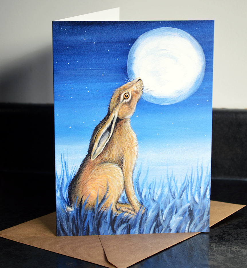 Moongazing Hare Greeting Card