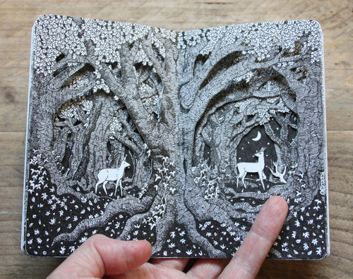 Deer in the Forest - Altered Pocket Sketchbook
