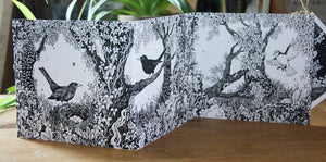 Owls and Blackbirds Concertina Greetings Card