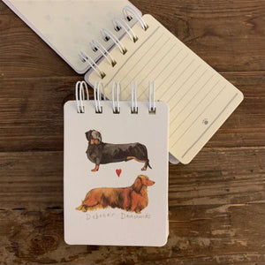 Debonair Dachshunds Dogs Small Spiral Bound Notepad