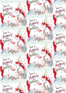 Unicorn Birthday - Bagged Gift Wrap with Tags