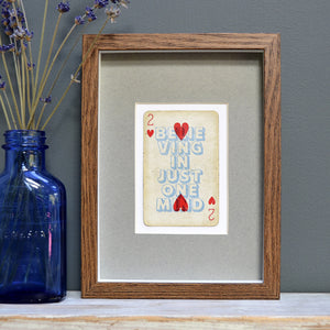 Two hearts playing card print