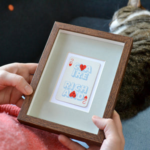 Two hearts together playing card print