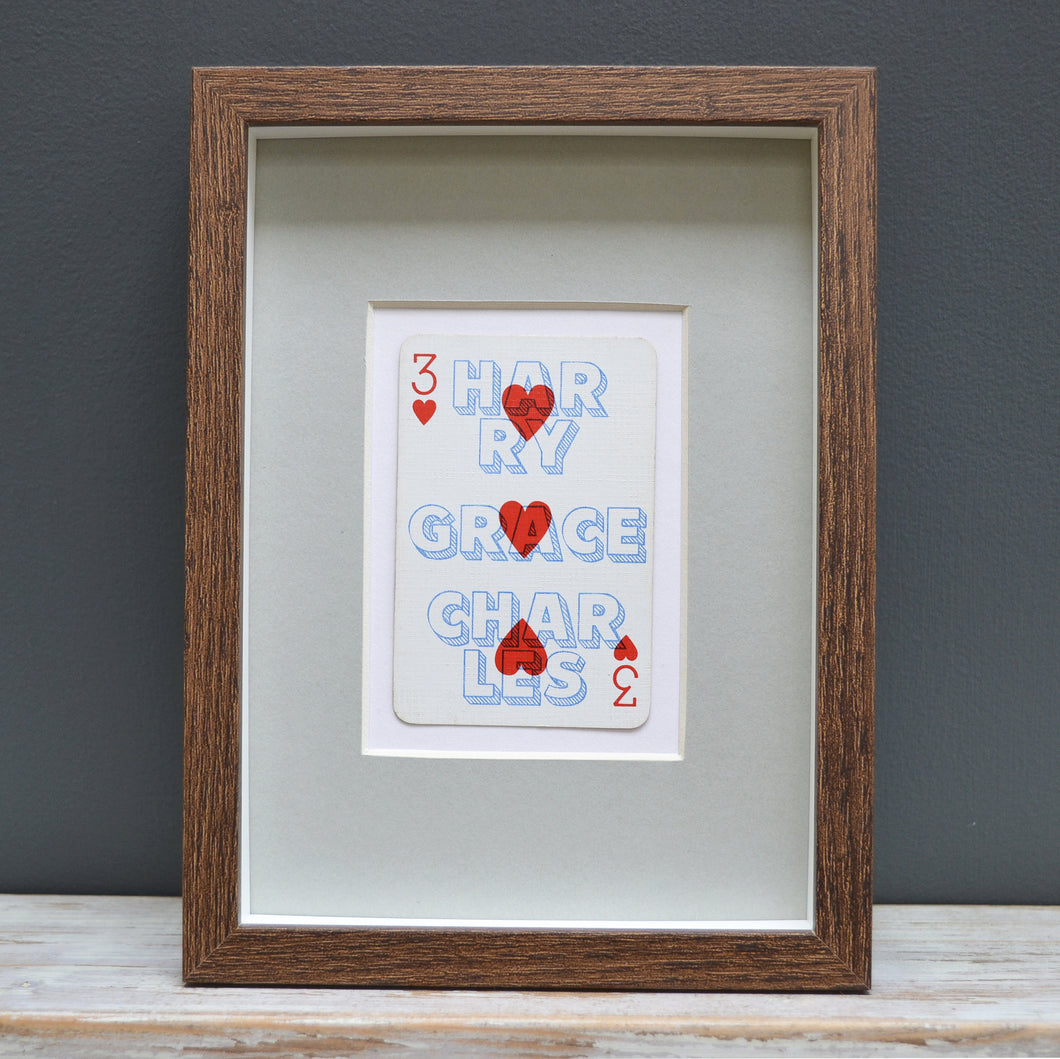Three's family playing card print