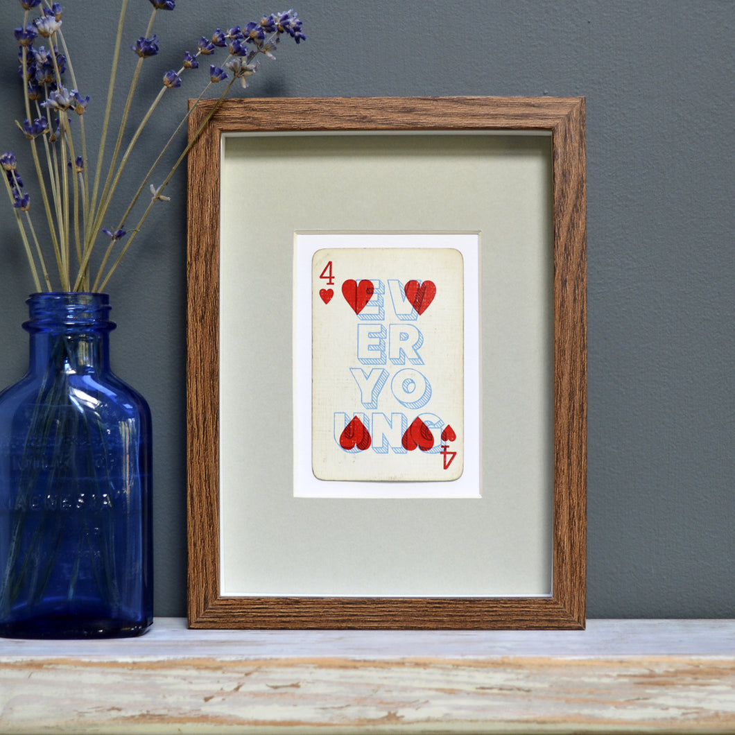 Forever young playing card print