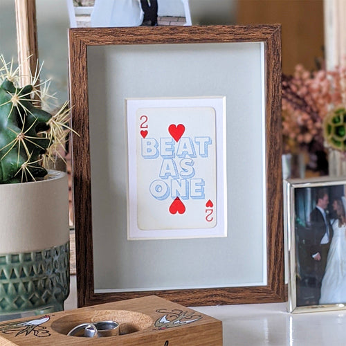 Two hearts beat as one playing card print