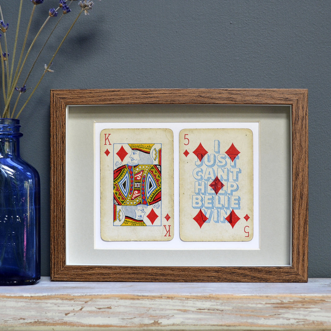 I just can't help believin' playing card print