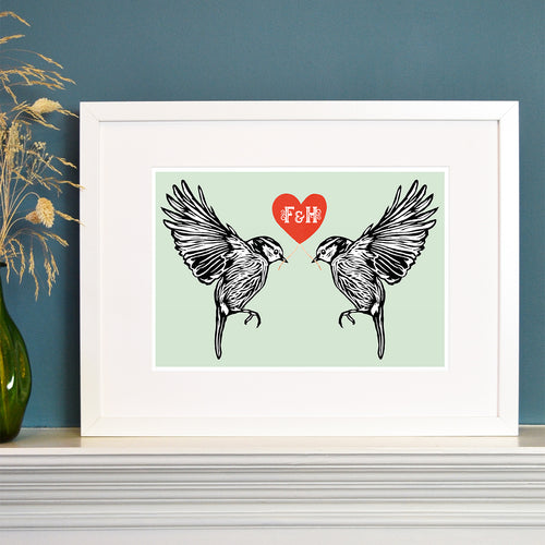 Lovebird blue tits personalised Valentine's print