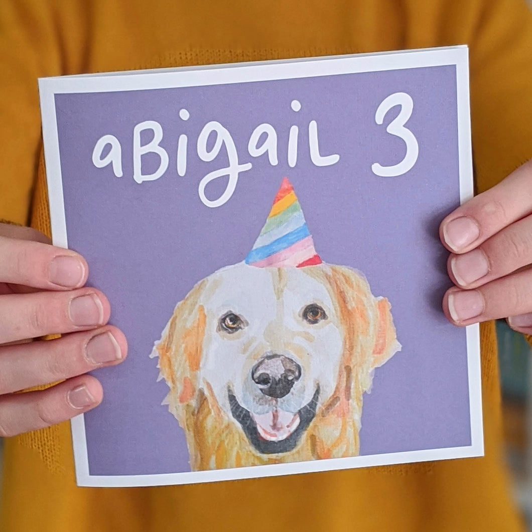 Personalised Party Pup birthday card