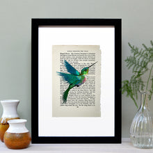 Load image into Gallery viewer, Hummingbird vintage book page art print