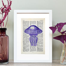 Load image into Gallery viewer, Jellyfish vintage book page art print