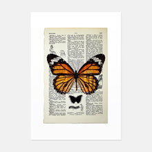 Load image into Gallery viewer, Monarch butterfly vintage book page art print