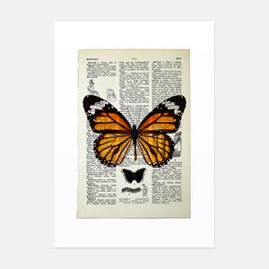 Monarch butterfly vintage book page art print