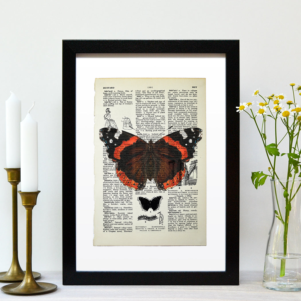 Red Admiral butterfly vintage book page art print